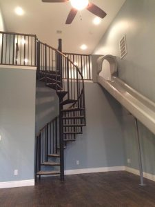 102 Standard Interior Spiral Stairs With Oak Sectional Handrail And Carpeted Treads