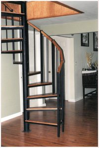 103 Standard Interior Spiral Stairs With Oak Sectional Handrail And Oak Treads