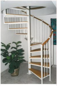 104 Standard Interior Spiral Staircase With Oak Section And Oak Treads