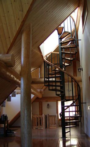 108 Interior Spiral Staircase With Continuous Large Body Oak Rail Oak Treads 6 In Pole