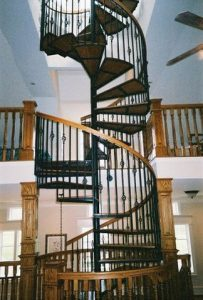112 Interior Steel Staircase With Large Body Continuous Handrail Wood Treads