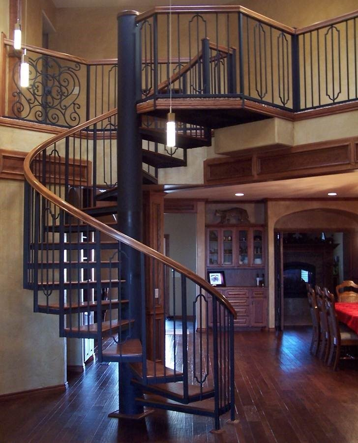 122 Interior Steel Staircase Hickory Handrail Treads