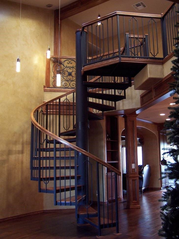 123 Steel Staircase Hickory Handrail And Treads