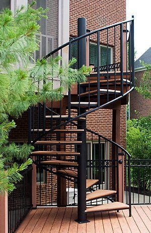 207 Exterior Steel Spiral Staircase Two Pipe Rails