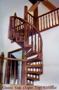 408 Wood Spiral Stairs Wood Colonial Taper Baluster