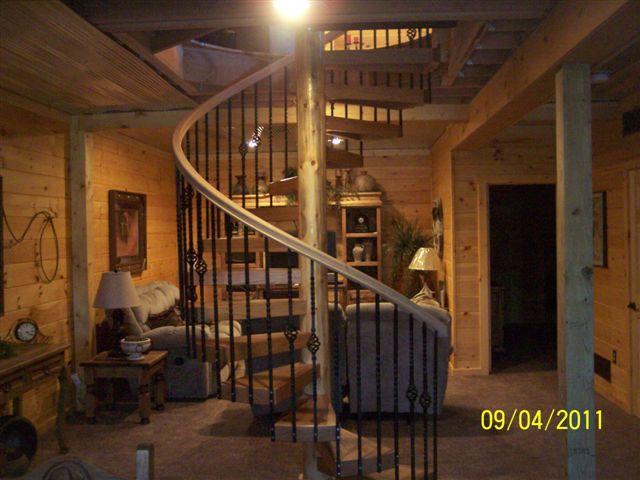 409 Interior Wood Stairs Steel Baluster